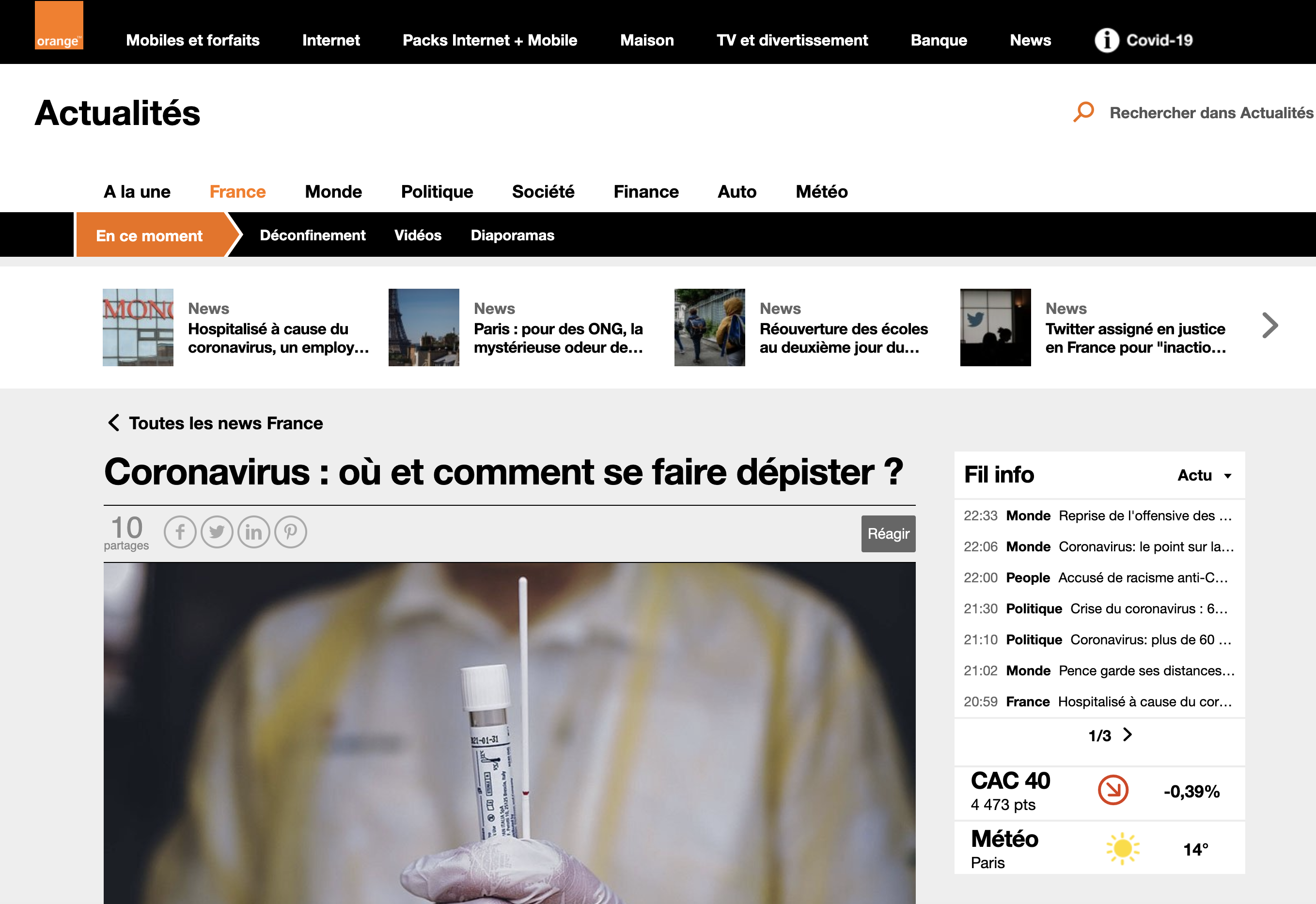Article Orange Actu au sujet de jemefaisdepister.fr