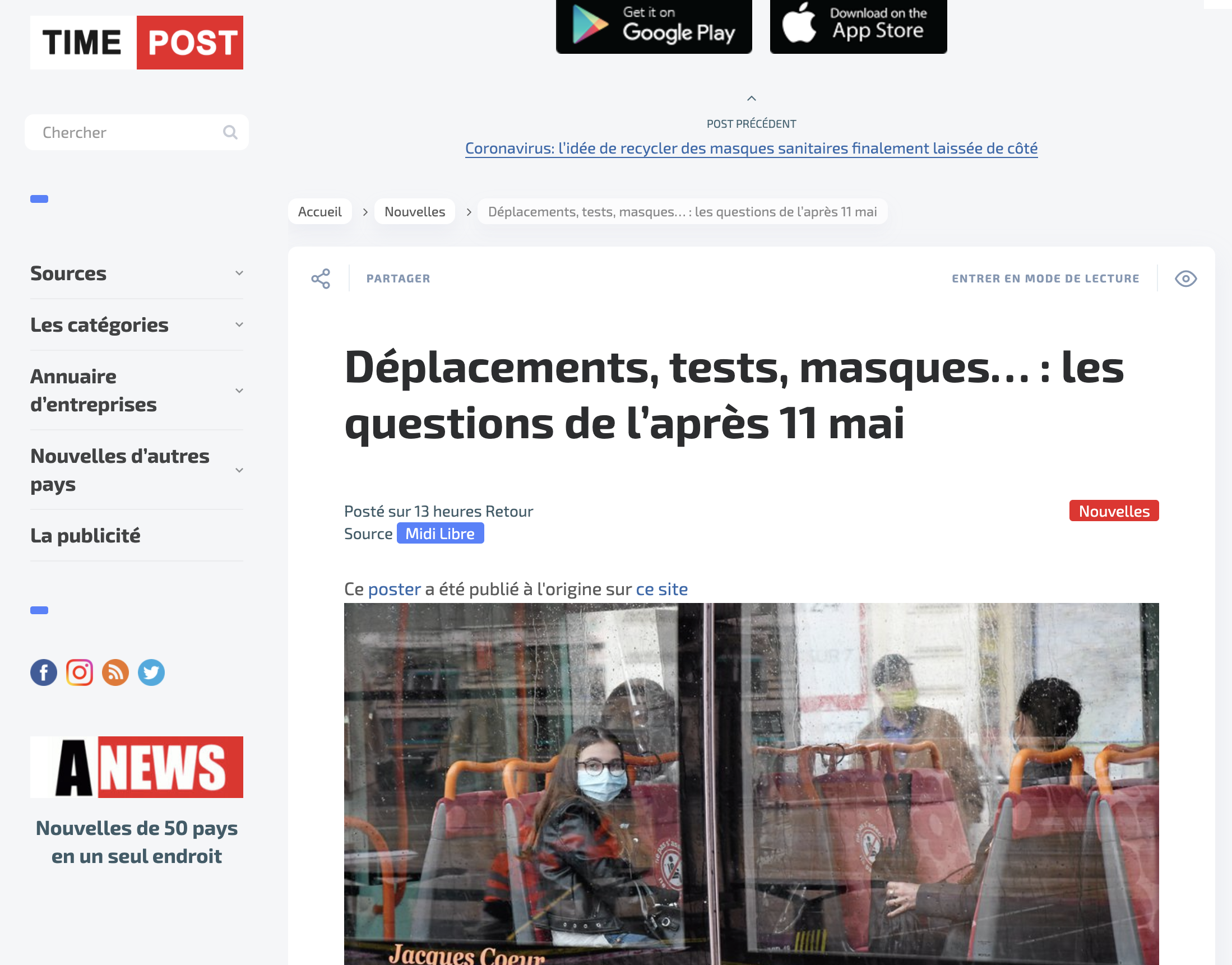 Article Time Post au sujet de jemefaisdepister.fr